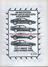Lotus Dealers Nationwide 1985 Magazine Advert #2092