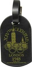 OLYMPIC MUSEUM DESIGN LONDON 1948 BLACK LEATHER LUGGAGE TAG