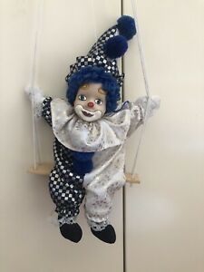 Vintage Clown doll Porcelain Face on swing soft body 30cmT Blue & White Outfit