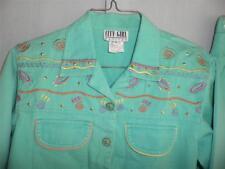 CITY GIRL GREEN DENIM Pants Jacket Top 3 pc Set  Embellished Embroidered Jeans