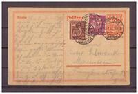 Deutsches Reich, Ganzsache P 141 + ZuF Bretten, Baden nach Mannheim 10.07.1922