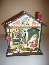 """ENESCO MUSICAL WOODEN HOUSE - PLAYS """" HERE COMES SANTA CLAUS"""" - WITH BOX - 1999"""