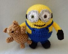 "Amigurumi Hand Crocheted Minion Bob with Teddy Bear Doll *NEW* 7"" Doll"