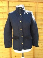 Joules Navy Blue Quilted Jacket Size 8 Fox Button Moredale Smart Coat B13