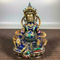 Chinese Copper Cloisonne Enamel Handmade Exquisite Buddha Statues