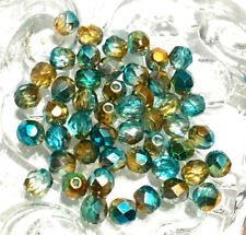 6mm Czech fire Polished 50 Beads Multi Tone Turquoise Brass Colored Beads