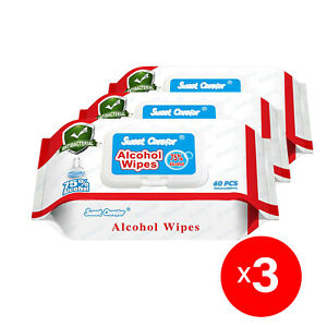 3 Pack (180 Pieces) Wipes 75% Alcohol Hand Surface Use