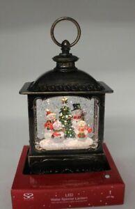 Bronze Christmas LED Metal Water Lantern Spinner 26cm Tall Glitter Snow Snowman