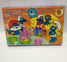 Vintage Smurfs MB Milton Bradley Puzzle 100 Pieces #4190-11 1988 Complete