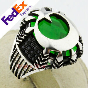 925 Sterling Silver Emerald Turkish Handmade ottoman men's Ring All Sizes