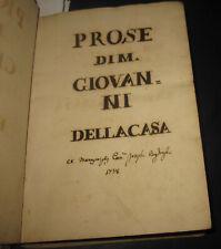 1738 Manoscritto,  Giovanni Della Casa. Carlo V, Venezia, Piacenza,  Lega.