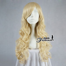 Yellow 70CM Long Curly Helloween Heat Resistant Anime Cosplay Women Party Wig