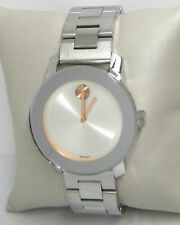 MOVADO BOLD SILVER DIAL ROSE GOLD TONE HANDS STAINLESS STEEL WATCH 3600084