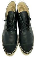 CHANEL BLACK LEATHER LACE UP HIGH TOP ESPADRILLES, 40, $1250
