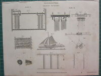 1810 Datato Antico Stampa ~ Miscellanies Dramatic Macchinari Sezione Diagrammi