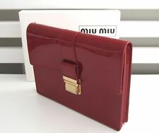 CARMINE/RED LARGE LUXURY PVC COMPLEMENTARY CLUTCH BAG/POUCH W/ GOLD BUCKLE - NEW
