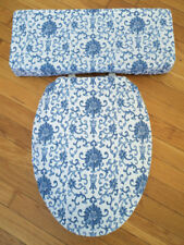 Ralph Lauren Porcelain Rosette Blue White Bath Toilet Seat & Tank Lid Cover Set