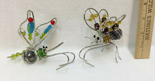 Butterfly Pot Huggers Hangers Figurine Garden Decor Planter Metal & Beads Set 2