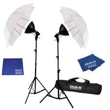 "Phot-R 2x 85W Studio 33"" Umbrella Light Stand Bulb Dish Microfibre Chamois Cloth"