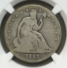 1888  Liberty seated  half dollar , NGC G4  ,   Scarce date