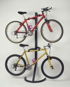 Black Pro Tower 2 Bike Rack Standing Bicycle Indoor Storage Garage Heavy Duty