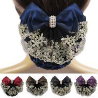 Women Lace Satin Bow Cover Decor Barrette Lady Hair Clip Bowknot Net Bun Snood