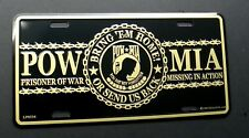 POW MIA Bring Em Home Send us Back Embossed Metal License Plate 6 x 12 inches