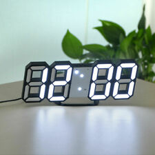 USB Modern Digital 3D LED Wall Clock Alarm Snooze 12/24 Hour Display Home Decor
