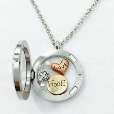 Round Floating Charms Locket Words Love Hope Rhinestone Cross Fashion Necklace