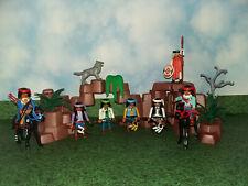 Playmobil Western 7 Apachen Indianer Custom Krieger Figuren 2 Pferde und Felsen