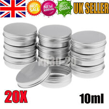 20X 10ml Durable Silver Aluminum Cosmetic Pot Lip Balm Jar Containers Empty Tins