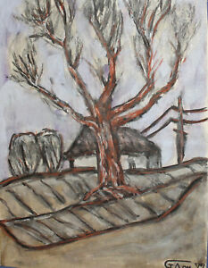 1972 PASTEL PAINTING EXPRESSIONIST LANDSCAPE SIGNED