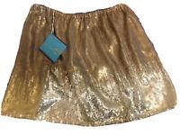 New Womens LETARTE Gold Sequined Handmade Skirt Size Small