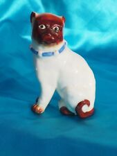 Antique porcelain Staffordshire Pug bully dog with blue Victorian Bell collar  *