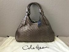 NWT Cole Haan Genevieve Pewter Triangle Weave Leather Tote Bag