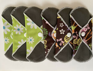 6X Reusable Washable Menstrual Sanitary Pads Cloth Charcoal Bamboo Period Pads