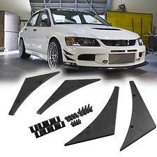 Set JDM Black Sporty Front Bumper Lip Kit Diffuser Canard Splitter Universal Fit
