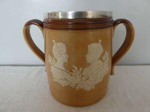 DOULTON LAMBETH SILVER RIM 1937 LOVING CUP GEORGE V1 1937 LIMITED EDITION 61/100