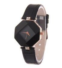 Analogue Wrist Watch Women Black W12 Ladies Girls Cute Wristwatch Leather Band