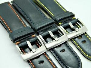23mm Handmade Genuine Calf Leather Watch Strap Sporty Character Dark Blue