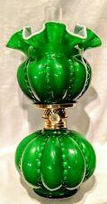 BEADED MELON MINIATURE GREEN WHITE OPAQUE CASED GLASS OIL KEROSENE LAMP ANTIQUE