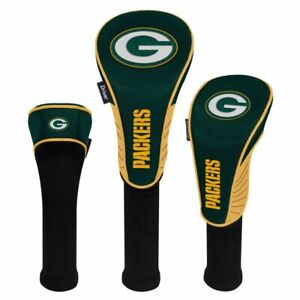 GREEN BAY PACKERS HIGH QUALITY NYLON GOLF HEAD COVER SET EMBROIDERED LOGO