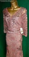 New MONSOON Dusky Pink & Pewter Beaded ANAIS Lace Cocktail Dress - Uk 14 16 18