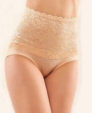 Lingerie sexy : culotte panty taille haute gainante ,  dentelle et coton beige