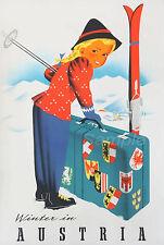 AS02 VINTAGE WINTER IN AUSTRIA SKI TRAVEL A3 POSTER PRINT