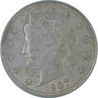 1907 Liberty Head V Nickel 5 Cent Piece AU About Uncirculated 5c US Coin