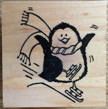 Ice Skating Penguin Wood Mounted Rubber Stamp Great Impressions Winter D334