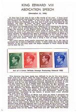King Edward V111Abdication Speech  Set of 4 mint stamps on card full Speech