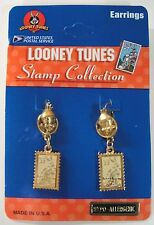 Looney Tunes USPS Stamp Collection Tweety Bird & Bugs Bunny Pierced Earrings NEW