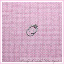 BonEful Fabric FQ Cotton Quilt Baby GIRL Little S Block Pink Check Stripe Calico